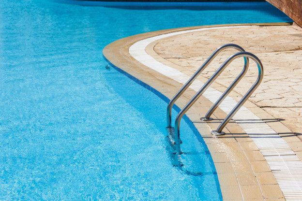Photo of concrete swimming pool deck